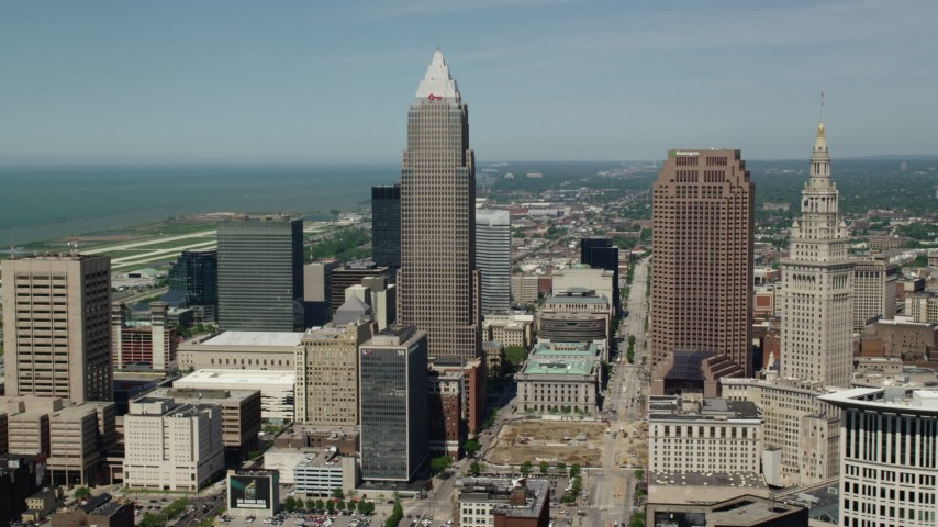 5K stock footage aerial video orbiting Key Tower and Terminal Tower in Downtown Cleveland, Ohio Aerial Stock Footage | AX106_234