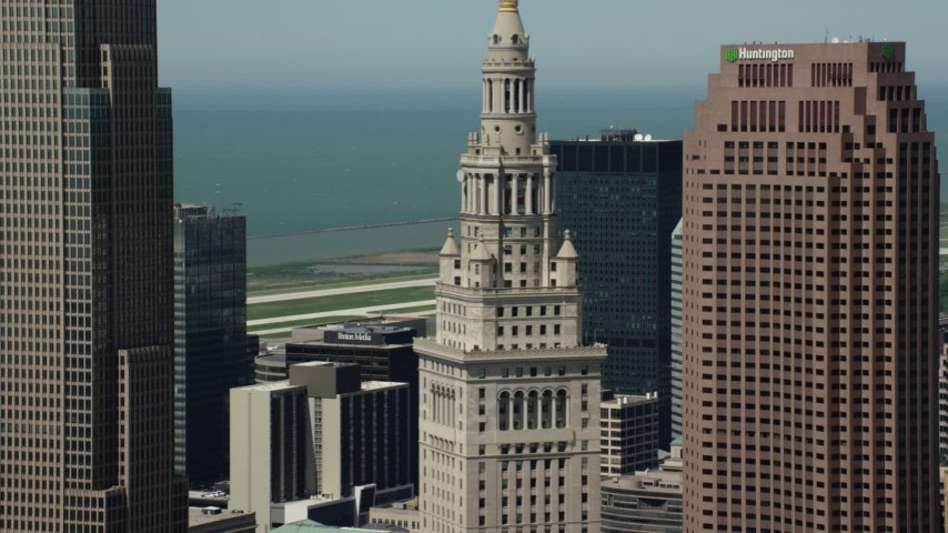 5K stock footage aerial video orbiting Terminal Tower in Downtown Cleveland, Ohio Aerial Stock Footage | AX106_235