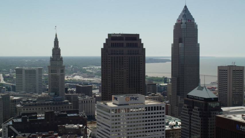 5K aerial video of 200 Public Square and Key Tower in Downtown Cleveland, Ohio Aerial Stock Footage | AX106_240