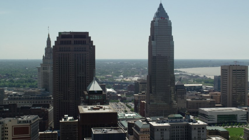 5K stock footage aerial video of 200 Public Square and Key Tower in Downtown Cleveland, Ohio Aerial Stock Footage | AX106_241