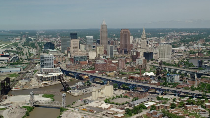 5K stock footage aerial video of skyscrapers in Downtown Cleveland, Ohio Aerial Stock Footage | AX106_244
