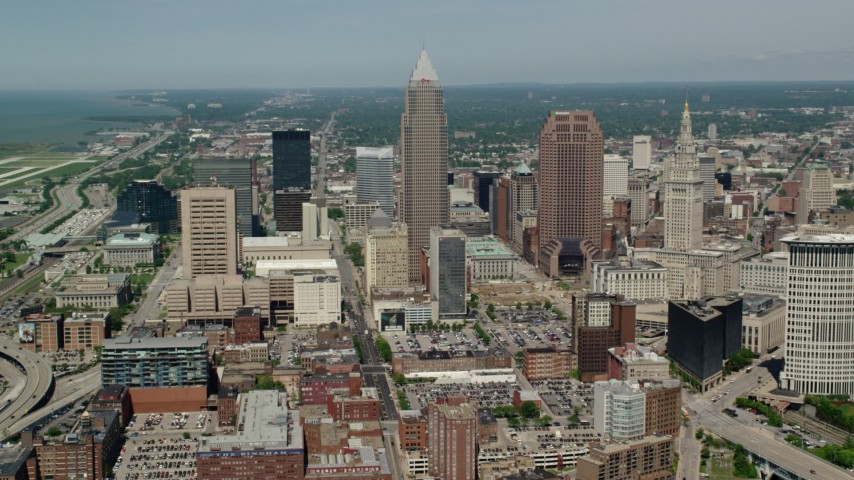 5K stock footage aerial video of Key Tower and 200 Public Square in Downtown Cleveland, Ohio Aerial Stock Footage AX106_247