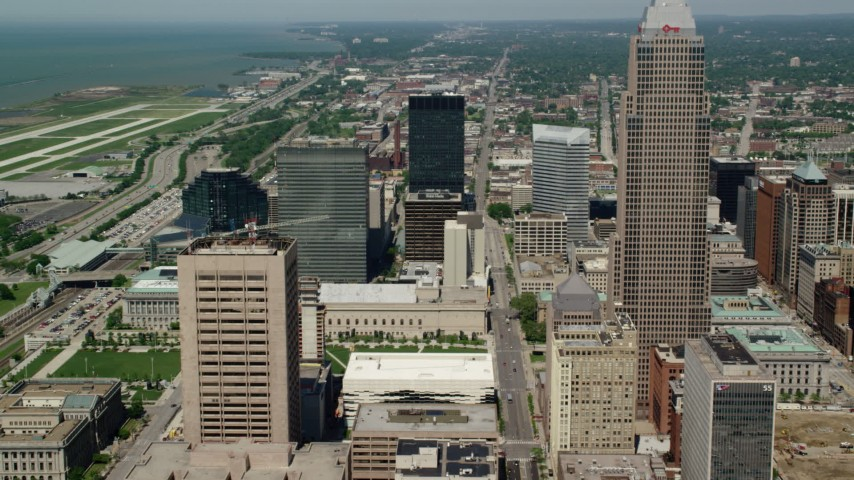 5K stock footage aerial video approaching Key Tower and High-Rises in Downtown Cleveland, Ohio Aerial Stock Footage | AX106_249