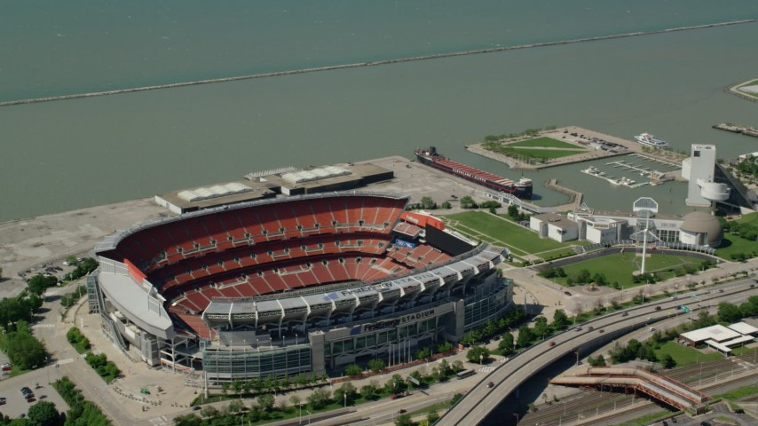5K stock footage aerial video orbiting FirstEnergy Stadium, formerly Cleveland Browns Football Stadium in Downtown Cleveland, Ohio Aerial Stock Footage | AX106_250