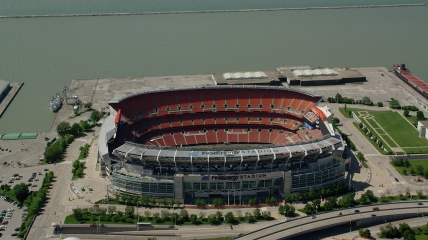 5K stock footage aerial video of FirstEnergy Stadium, formerly Cleveland Browns Football Stadium in Downtown Cleveland, Ohio Aerial Stock Footage | AX106_251