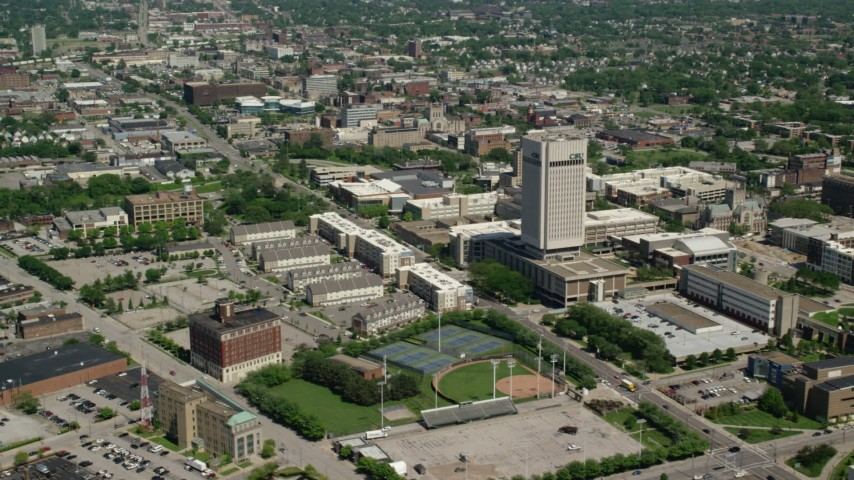 5K stock footage aerial video of the campus of Cleveland State University in Cleveland, Ohio Aerial Stock Footage AX106_254 | Axiom Images