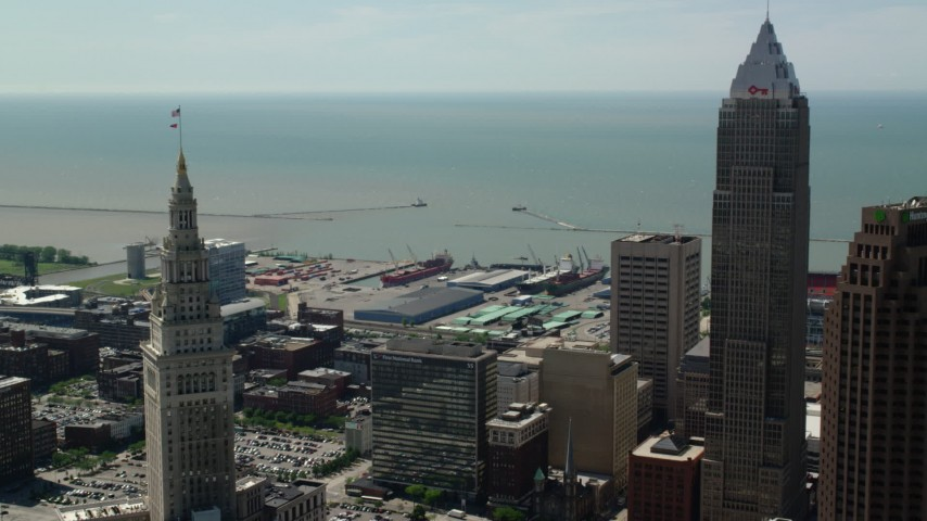 5K stock footage aerial video of skyscrapers and waterfront area of Downtown Cleveland, Ohio Aerial Stock Footage | AX106_261