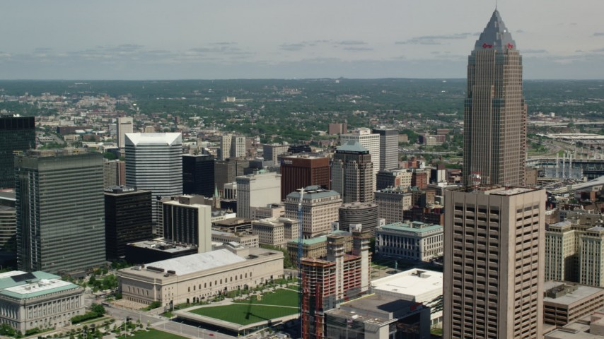 5K aerial video of skyscrapers and Cleveland Mall in Downtown Cleveland, Ohio Aerial Stock Footage AX106_264