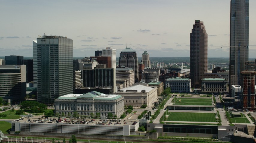 5K stock footage aerial video flying by Cleveland City Hall and Cleveland Mall, Downtown Cleveland, Ohio Aerial Stock Footage | AX106_266