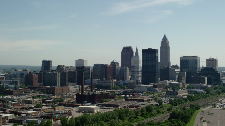 5K stock footage aerial video of Downtown Cleveland skyline, Ohio Aerial Stock Footage | AX107_001