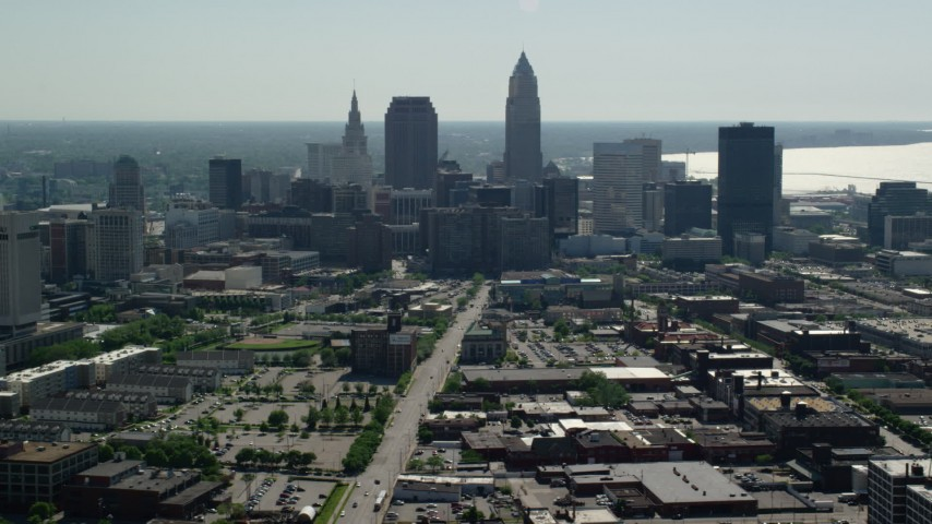 5K stock footage aerial video of Downtown Cleveland skyscrapers and Cleveland State University, Ohio Aerial Stock Footage | AX107_004