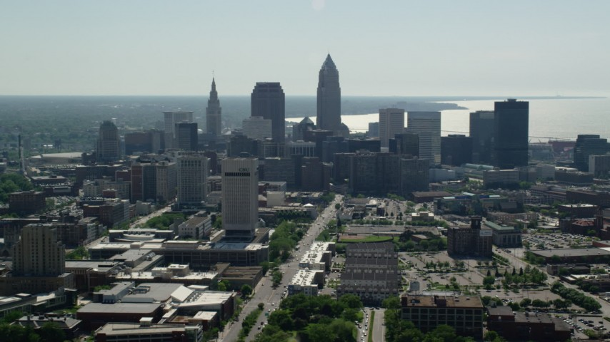 5K stock footage aerial video of Downtown Cleveland and Cleveland State University, Ohio Aerial Stock Footage | AX107_005