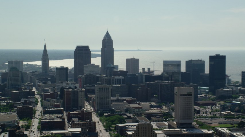 5K stock footage aerial video of Downtown Cleveland skyscrapers and high-rises, Ohio Aerial Stock Footage | AX107_006