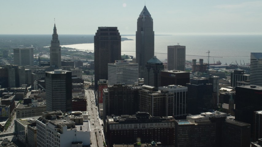 5K aerial video of 200 Public Square, Key Tower, Downtown Cleveland, Ohio Aerial Stock Footage | AX107_009