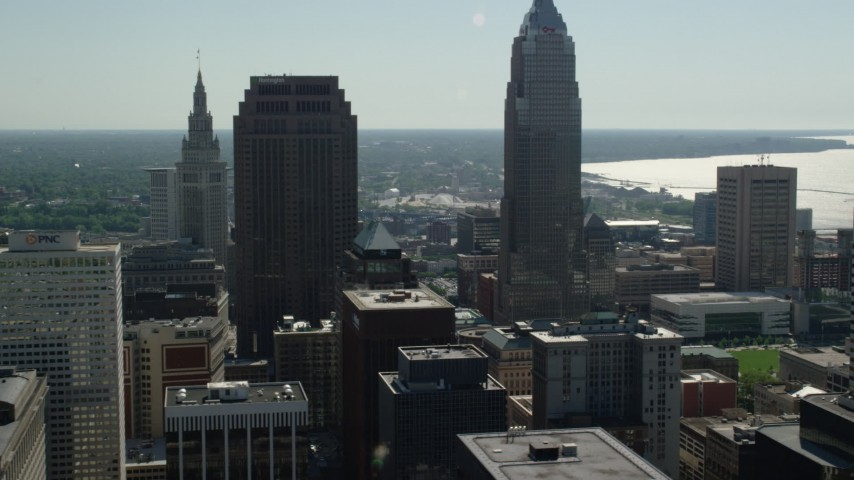 5K stock footage aerial video flying by 200 Public Square and Key Tower, Downtown Cleveland, Ohio Aerial Stock Footage | AX107_010