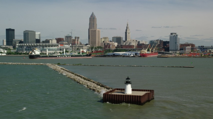 5K aerial video of Downtown Cleveland skyline seen from Lake Erie, Ohio Aerial Stock Footage | AX107_014