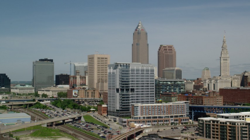 5K aerial video of Downtown Cleveland skyline, Ohio Aerial Stock Footage | AX107_017