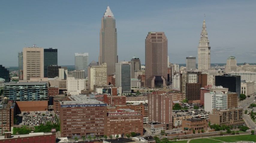 5K stock footage aerial video of Key Tower and Downtown Cleveland skyscrapers, Ohio Aerial Stock Footage | AX107_019