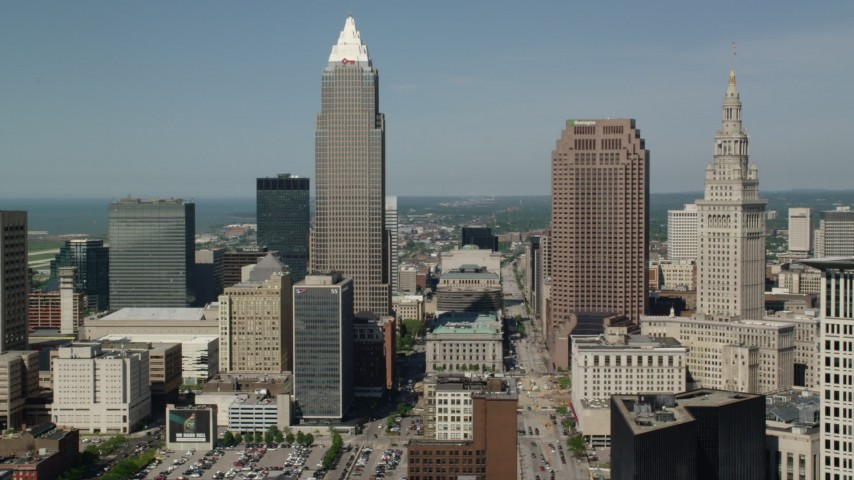 5K aerial video flying by Key Tower and 200 Public Square, Downtown Cleveland, Ohio Aerial Stock Footage | AX107_021
