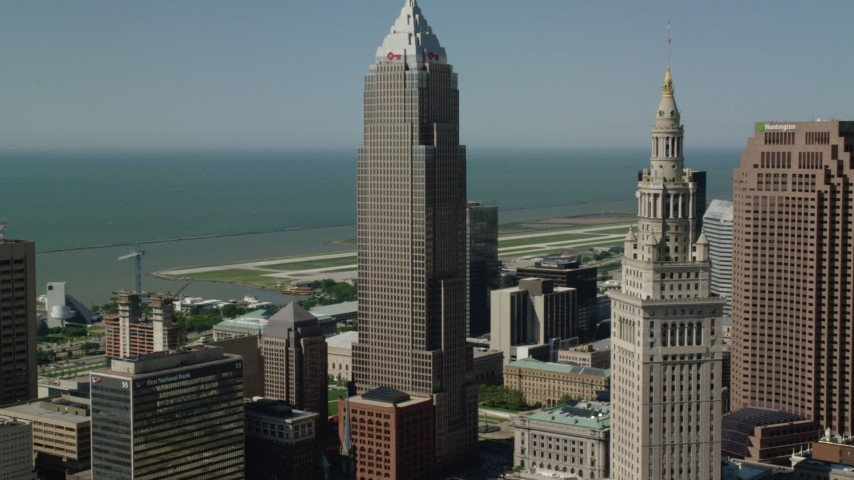 5K stock footage aerial video orbiting Key Tower and Terminal Tower, Cleveland, Ohio Aerial Stock Footage | AX107_023