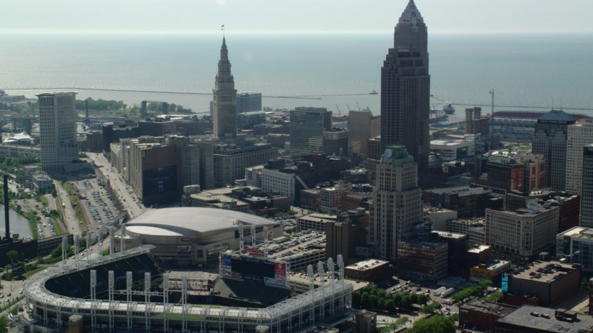 5K stock footage aerial video of Progressive Field in Downtown Cleveland, Ohio Aerial Stock Footage | AX107_027