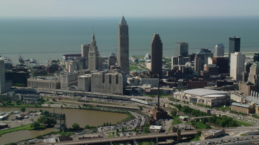 5K stock footage aerial video of Downtown Cleveland and Lake Erie, Ohio Aerial Stock Footage | AX107_031