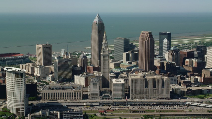 5K aerial video of Terminal Tower and Key Tower, Downtown Cleveland, Ohio Aerial Stock Footage | AX107_033