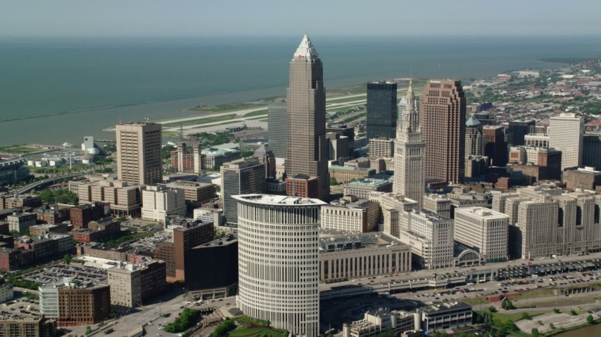 5K stock footage aerial video of Key Tower and Terminal Tower, Downtown Cleveland, Ohio Aerial Stock Footage | AX107_034