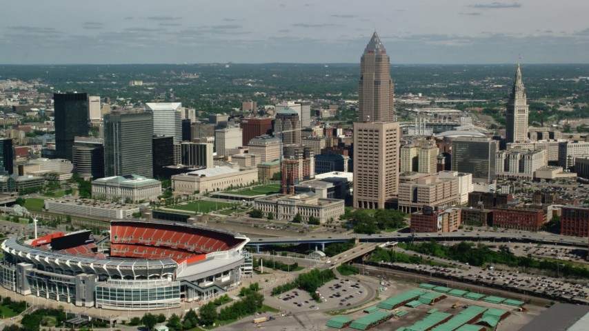 5K stock footage aerial video of Cleveland Mall, FirstEnergy Stadium, formerly Cleveland Browns Stadium and City Hall, Downtown Cleveland, Ohio Aerial Stock Footage | AX107_041