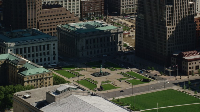 5K aerial video orbiting Cleveland Mall and Courthouse, Downtown Cleveland, Ohio Aerial Stock Footage | AX107_044