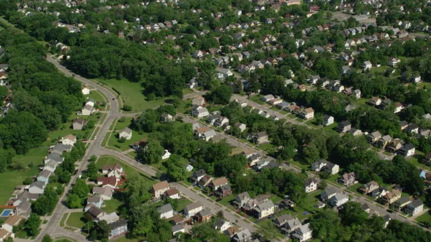 5K aerial video flying over residential neighborhood, Cleveland, Ohio Aerial Stock Footage | AX107_050