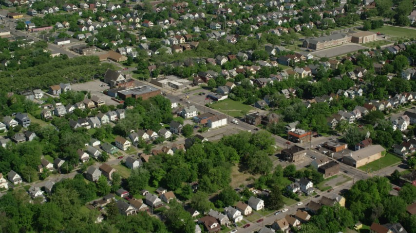 5K stock footage aerial video flying over residential neighborhoods, Cleveland, Ohio Aerial Stock Footage | AX107_051