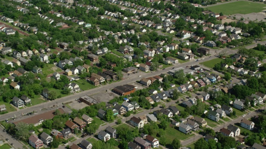 5K stock footage aerial video of residential nieghborhoods, Cleveland, Ohio Aerial Stock Footage | AX107_052