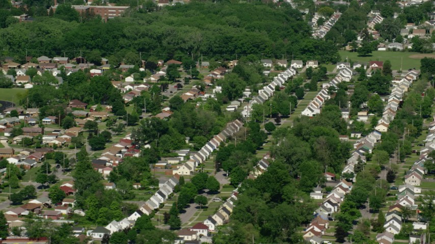 5K stock footage aerial video of suburban homes and trees, Cleveland, Ohio Aerial Stock Footage | AX107_054