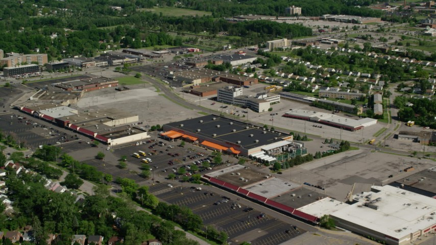 5K stock footage aerial video approaching Home Depot, Cleveland, Ohio Aerial Stock Footage | AX107_058