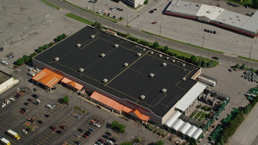 5K stock footage aerial video flying over the top of a Home Depot, Cleveland, Ohio Aerial Stock Footage | AX107_059