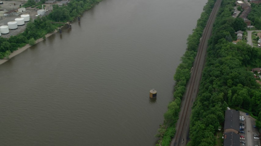 5K stock footage aerial video of the Ohio River, Pittsburgh, Pennsylvania Aerial Stock Footage | AX107_160
