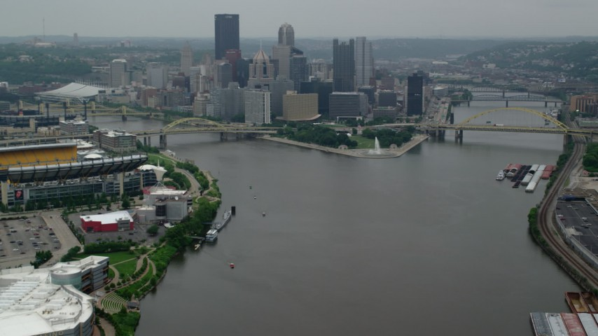 5K stock footage aerial video approaching skyscrapers and Point State Park, Downtown Pittsburgh, Pennsylvania Aerial Stock Footage | AX107_171