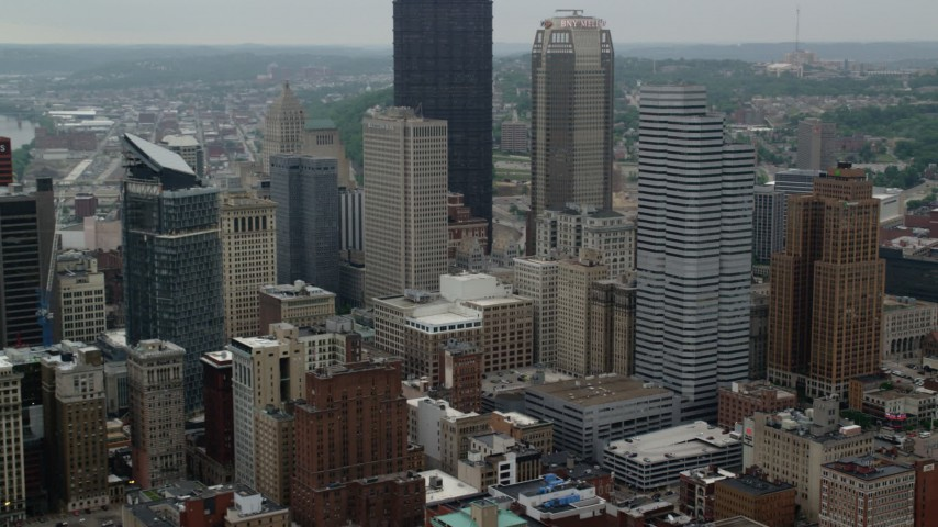 5K stock footage aerial video passing by skyscrapers, Downtown Pittsburgh, Pennsylvania Aerial Stock Footage | AX107_175