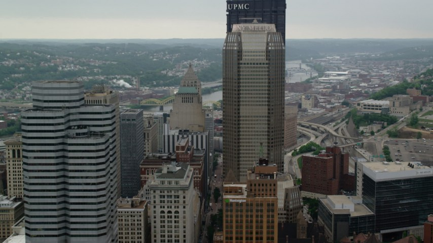 5K stock footage aerial video orbiting BNY Mellon Center and U.S. Steel Tower, Pittsburgh, Pennsylvania Aerial Stock Footage | AX107_176