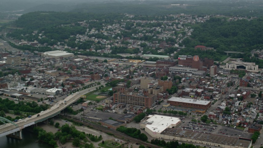5K stock footage aerial video of an urban neighborhood, Pittsburgh, Pennsylvania Aerial Stock Footage | AX107_179