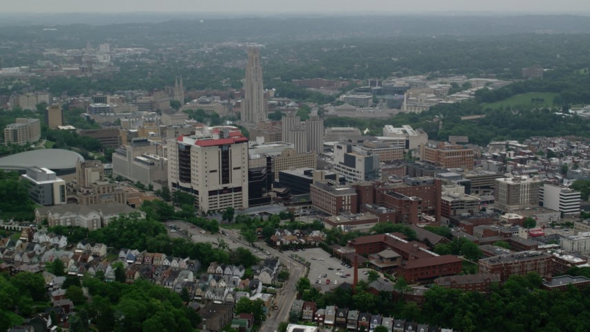 5K aerial video of the University of Pittsburgh and Cathedral of Learning, Pennsylvania Aerial Stock Footage | AX107_180