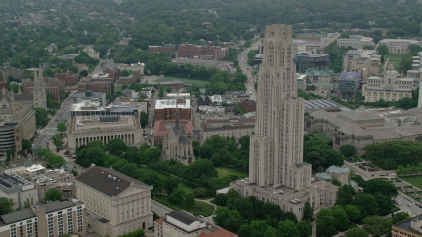 5K aerial video of Cathedral of Learning and Heinz Memorial Chapel, University of Pittsburgh, Pennsylvania Aerial Stock Footage AX107_182