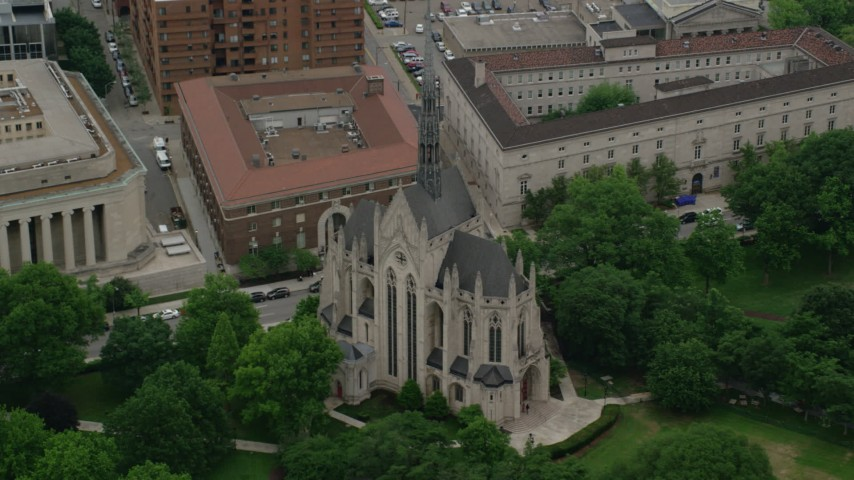 5K aerial video orbiting Heinz Memorial Chapel, University of Pittsburgh, Pennsylvania Aerial Stock Footage | AX107_183