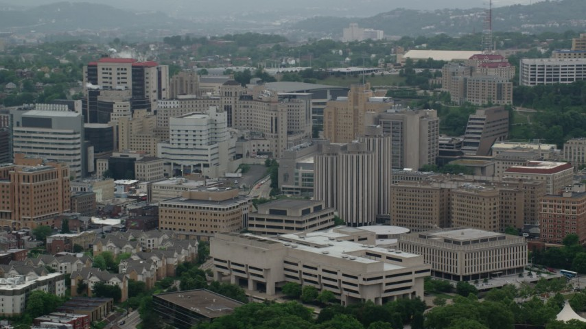 5K aerial video of campus buildings and dormitories, University of Pittsburgh, Pennsylvania Aerial Stock Footage | AX107_188