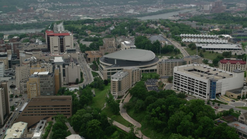 5K aerial video of Petersen Events Center, University of Pittsburgh, Pennsylvania Aerial Stock Footage | AX107_191