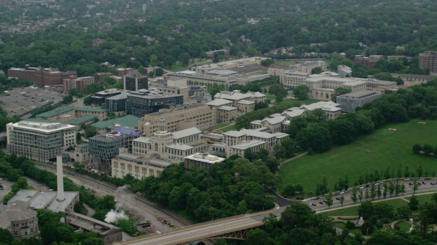 5K stock footage aerial video of Carnegie Mellon University, Pittsburgh, Pennsylvania Aerial Stock Footage | AX107_194