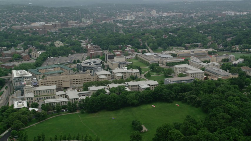 5K stock footage aerial video of Carnegie Mellon University campus, Pittsburgh, Pennsylvania Aerial Stock Footage | AX107_195