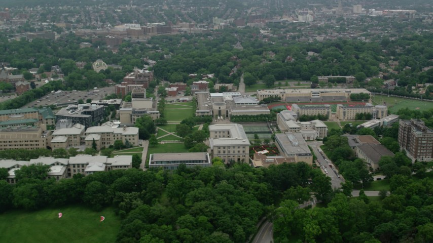 5K stock footage aerial video flying by Carnegie Mellon University campus, Pittsburgh, Pennsylvania Aerial Stock Footage | AX107_196