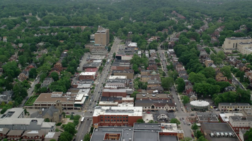 5K stock footage aerial video of suburban homes and apartment buildings, Pittsburgh, Pennsylvania Aerial Stock Footage | AX107_198